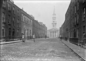 View of Hardwicke Street, Dublin, from North Frederick Street end. Former Methodist Hardwicke Chapel and Normal School (light coloured building) on left-hand side. Image Courtesy National Gallery of Ireland.